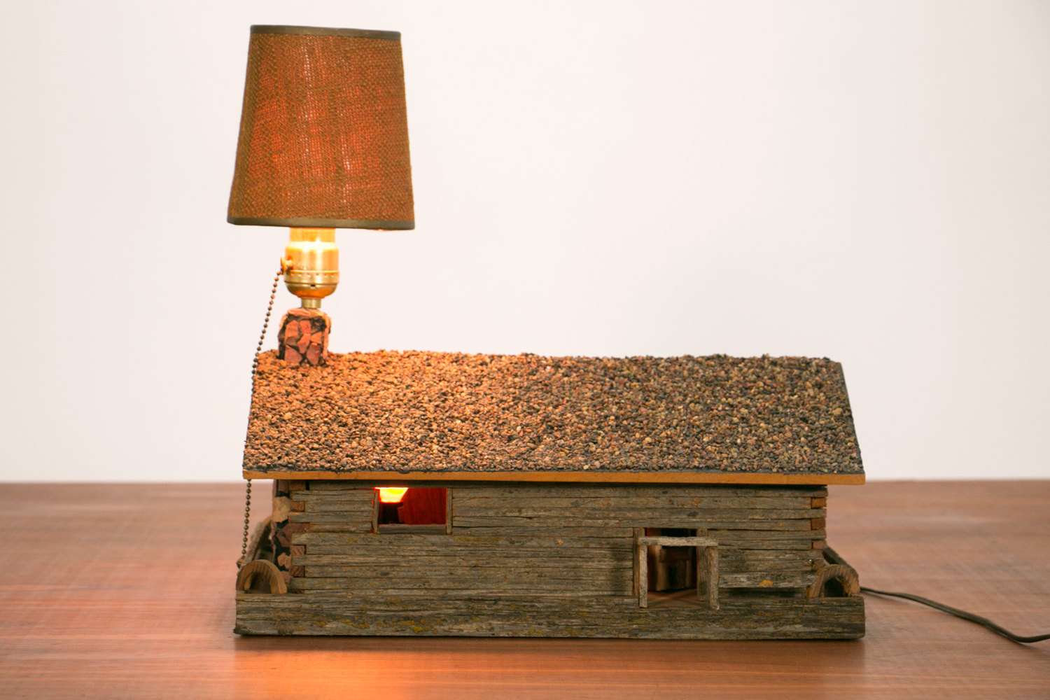 Vintage 1960's Handmade Rustic Mid Century Cabin Diorama Lamp // House, MCM, One of a Kind, Retro, Mod, Architectural