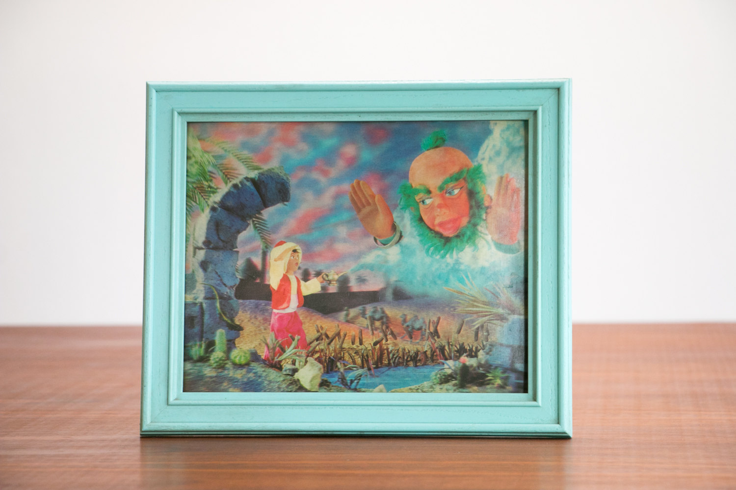 Vintage 1960's Lenticular Aladdin with Lamp and Genie 3D Effect Print with Baby Blue Plastic Frame // Retro, Mid Century, Disney, Movie