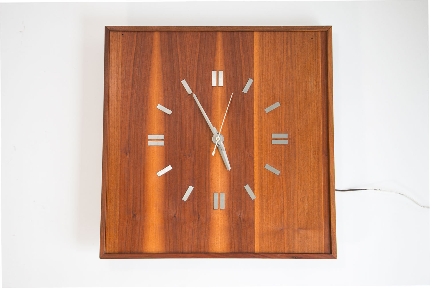 Vintage 1960's Mid Century Modern Large Black Walnut Wall Clock // Custom Made, One of a Kind // MCM // Modernist