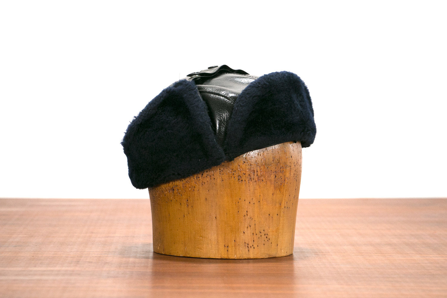 Vintage 1960's Winter TROOPER Hat // Leather & Fur Flaps // Trapper, Hipster, Police, Ear Warmer, Insulated