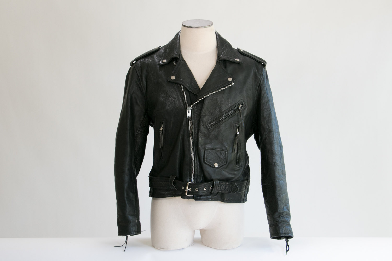 Vintage 1970's Black Leather Motorcycle Rocker Jacket // Size 48 // Unik // High Quality // Punk, Rocker, Biker, Hipster