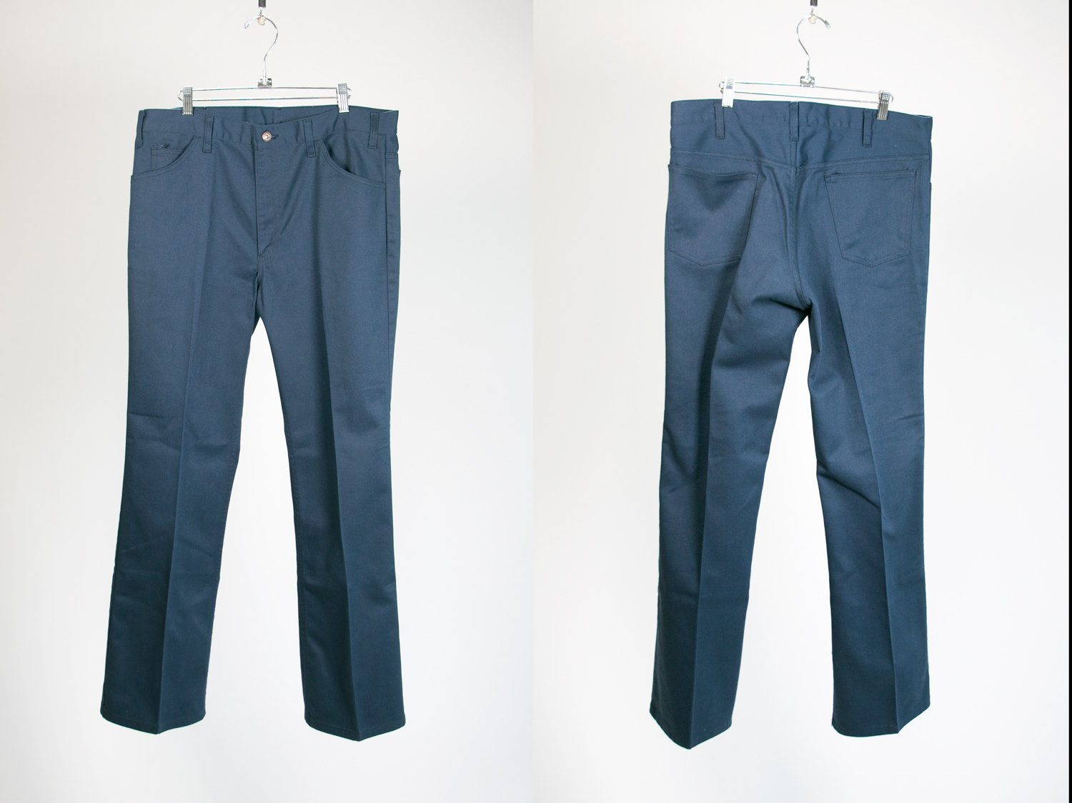 Vintage 1970's Blue JCPenney Work Pants Men's 38x34 50/50 Cotton/Polyester - Retro, Menswear, Hipster, Rocker, Sta-Prest, Wrancher