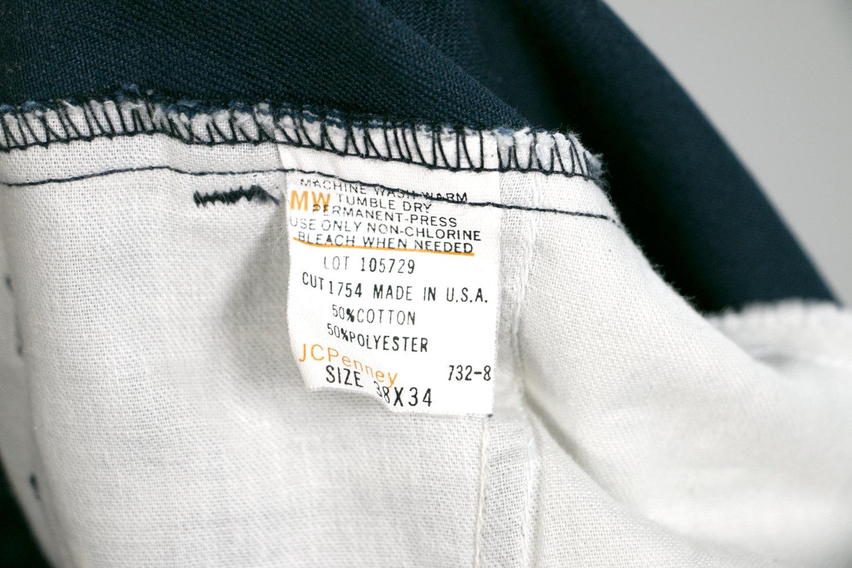 Vintage 1970's Blue JCPenney Work Pants Men's 38x34 50/50 Cotton/Polyester - Retro, Menswear, Hipster, Rocker, Sta-Prest, Wrancher