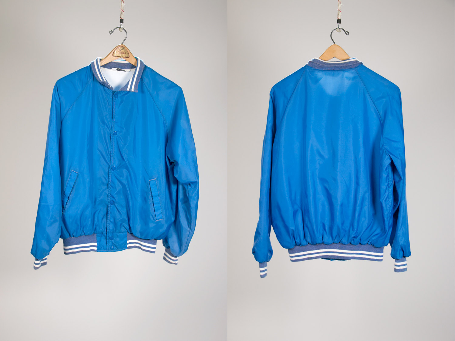 Vintage 1970's Blue & White Trucker Jacket / Club Jacket with soft lining - Cool! - Men's Large 42-44 - Retro, Indie, Hipster