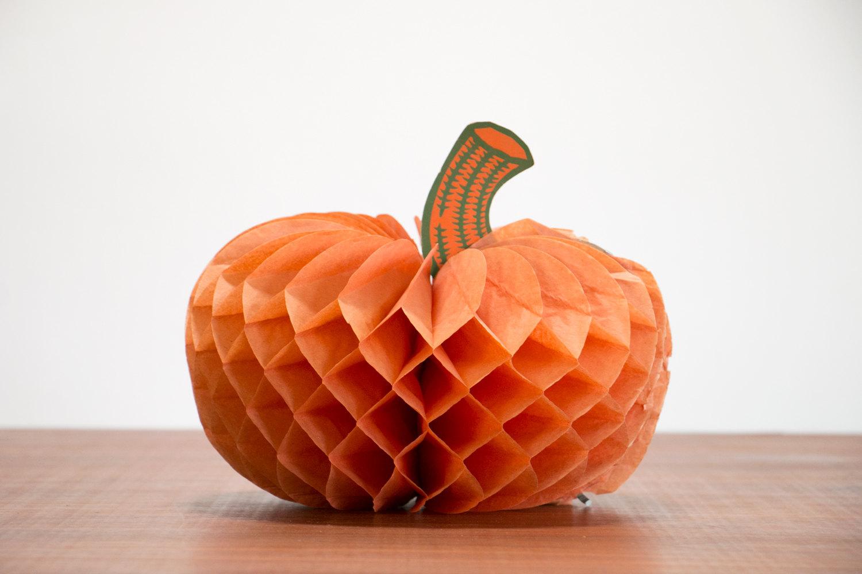 Vintage 1970's Folding Paper Pumpkin with Stem // Vintage Halloween, Green and Orange, Retro, Hipster