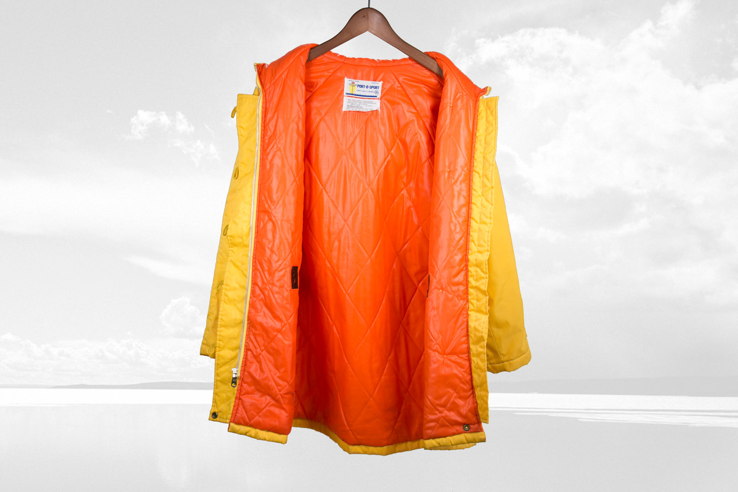 """Vintage 1970's Fur lined Yellow & Orange Winter Parka, Quilt-lined, """"Port-O-Sport"""" - Size XL - Hipster, Indie, Retro"""