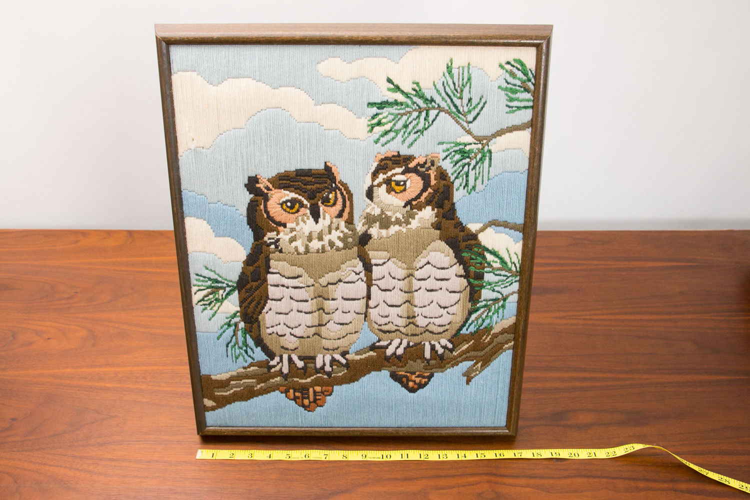 Vintage 1970's Handmade Needlepoint Owls Art - Wood Frame - Two Owls on Branch with Clouds - Mid Century, Rustic, Hipster