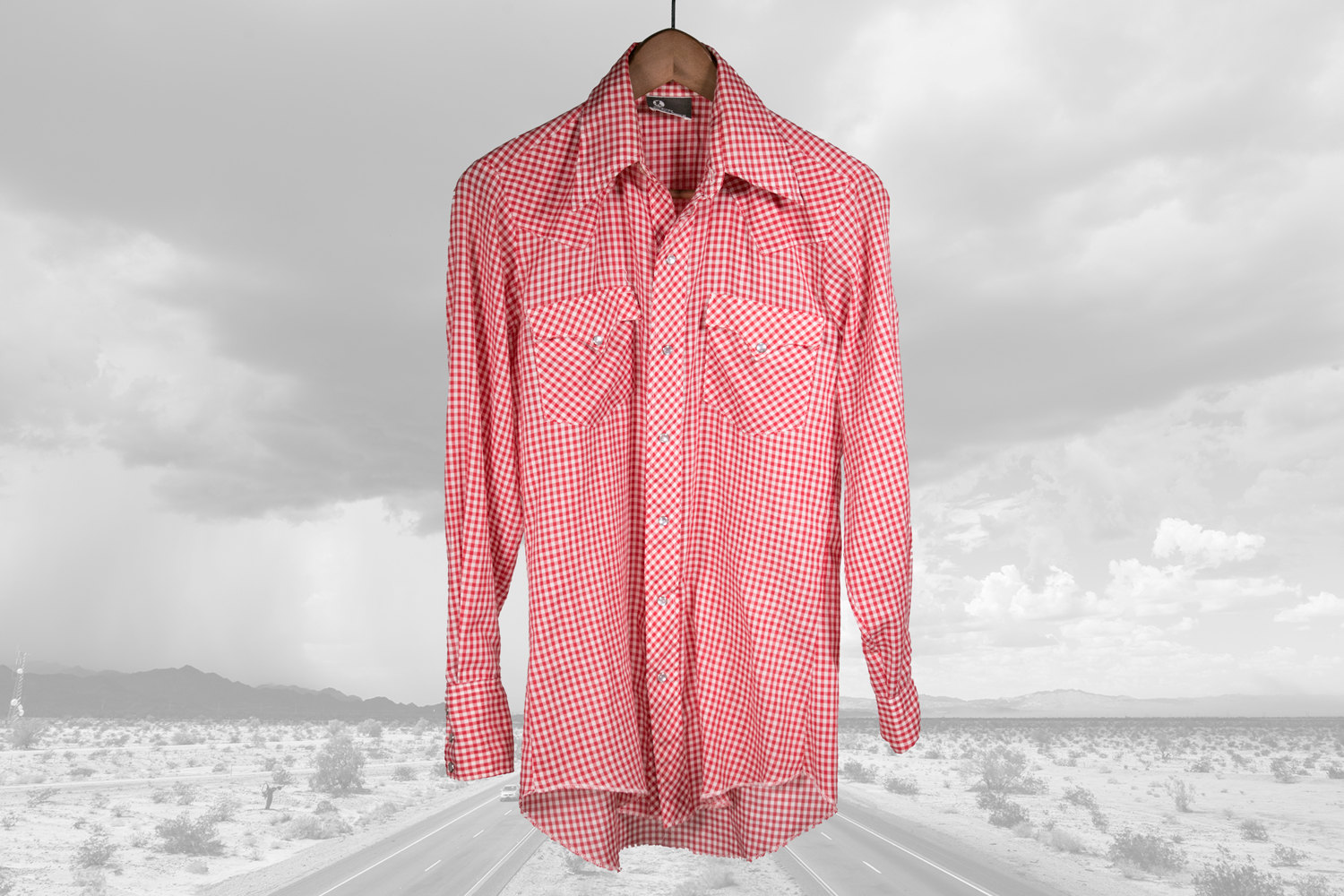 Vintage 1970's JCPenney Western Wear Red Check Country Shirt - Men's Small - Great Lines! - Retro, Indie, Hipster, Rocker