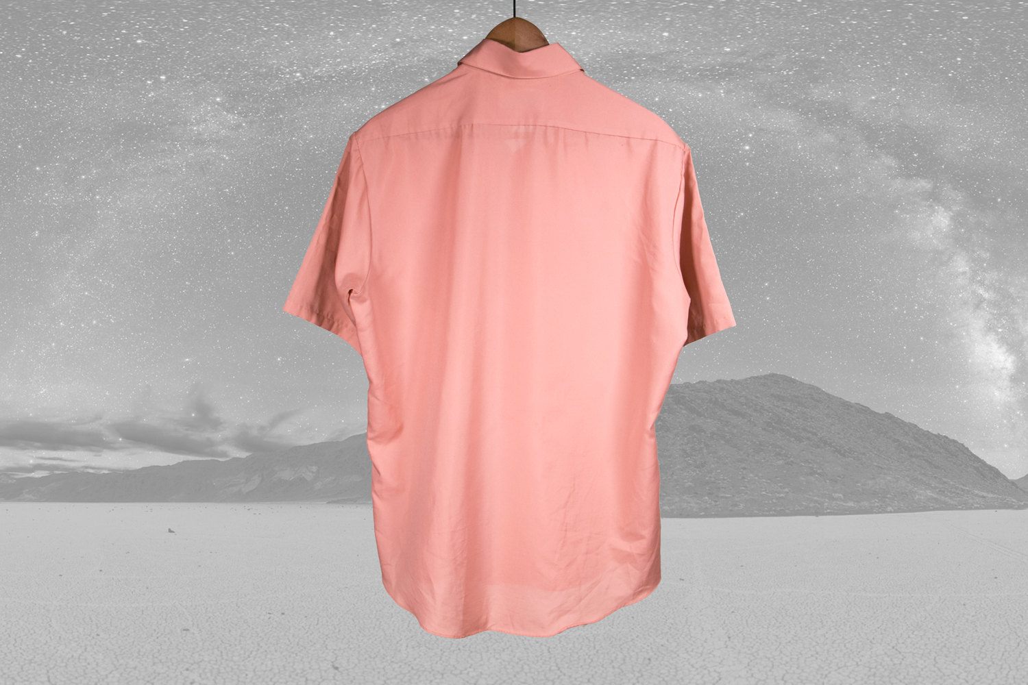 "Vintage 1970's Salmon Short Sleeve Shirt by Montgomery Ward - 16"" Neck - Work Shirt / Dress Shirt - Hipster, Indie, Retro, Pink"
