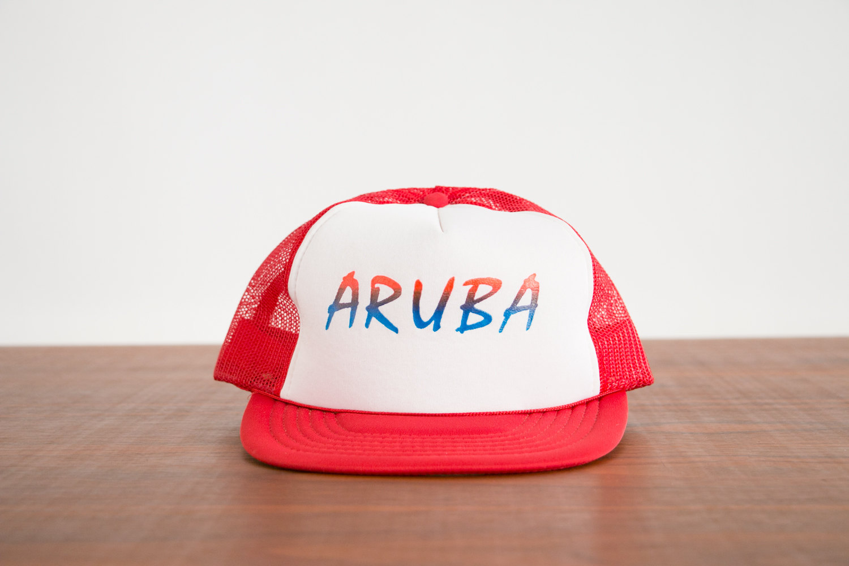 Vintage 1980's Aruba Red & White with Rainbow Trucker Hat - Hipster, Indie, Retro