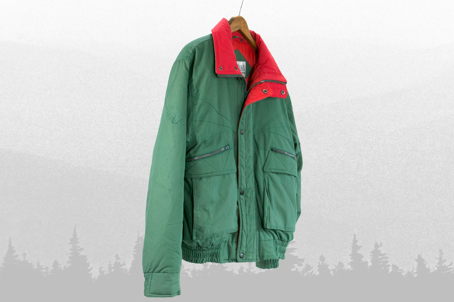 Vintage 1980's Country Jacket // Green and Red with Great Lines //  WINDBREAKER Brand // Men's Medium //  Retro, Hipster, Country Western