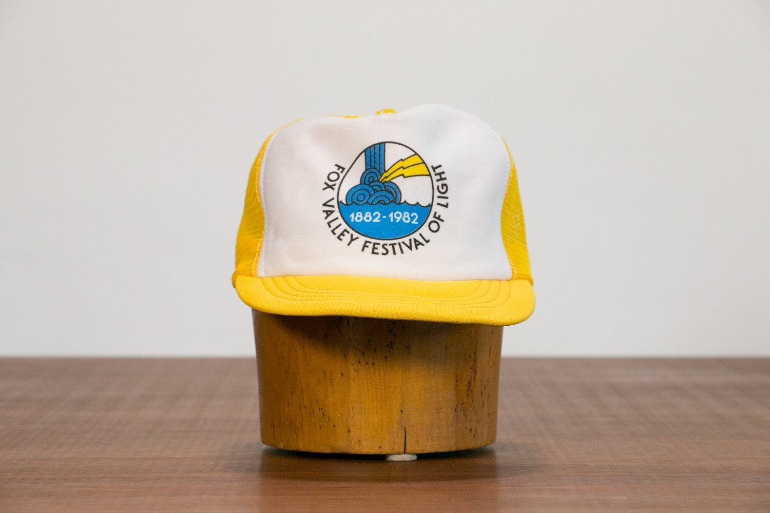 Vintage 1980's Trucker Cap // Fox Valley Festival of Light // Yellow & White // New Wave, New Age, Indie, Hipster, Rocker
