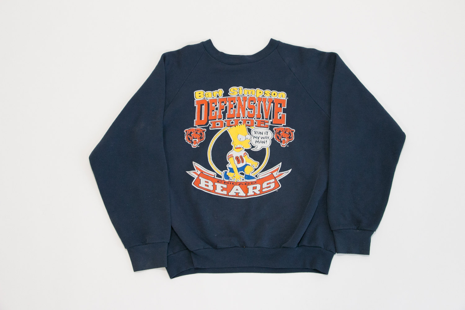 Vintage Bart Simpson Chicago Bears Sweatshirt // Large // Defensive Dude // Navy Blue w Screen Printed Ink //  Rare Sports Apparel, Hipster