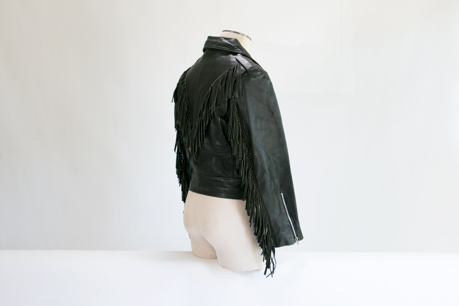 Vintage Black Leather Motorcycle Jacket w/ Fringe // Size 40 // High-End, USA // Biker, Rocker, Hipster, 1980's, Native American