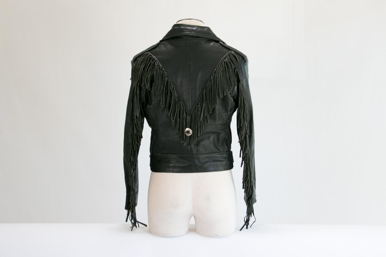 Vintage Black Leather Motorcycle Jacket w/ Fringe // Size 40 // High-End, USA // Biker, Rocker, Hipster, 1980's, Native American