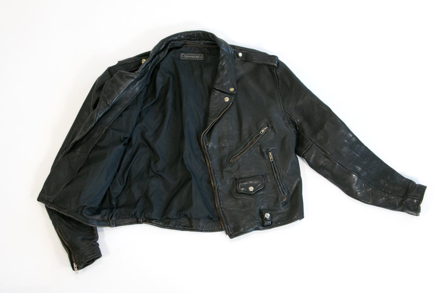 Vintage Black Leather Motorcycle, Rocker Jacket // L - XL //  Highest Quality Thick Leather w Brass Buttons  // Hipster, Indie, Punk, Biker