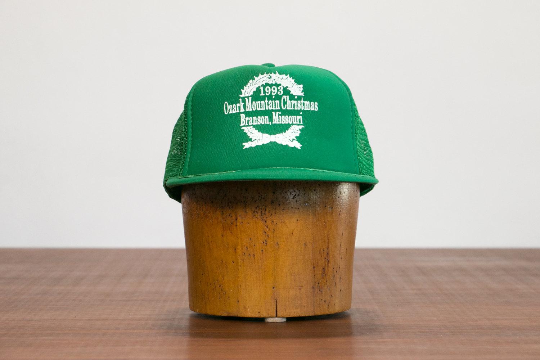 Vintage Green Trucker Cap // Ozark Mountain Christmas, Branson Missouri, 1993 // Retro, Hipster, Rocker, Indie, Xmas, Holidays, Kitsch