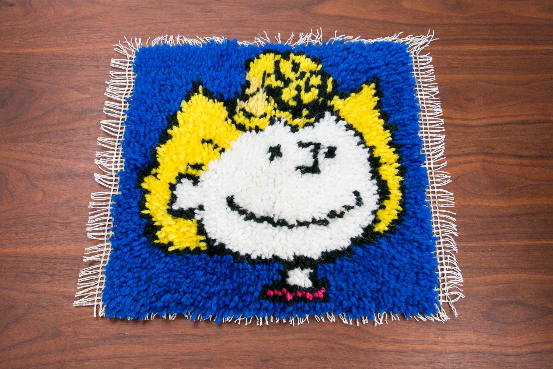 """Vintage Handmade Sally Brown Rug, 17"""" x 17"""" - Peanuts, Charlie Brown - Retro, Cartoons"""