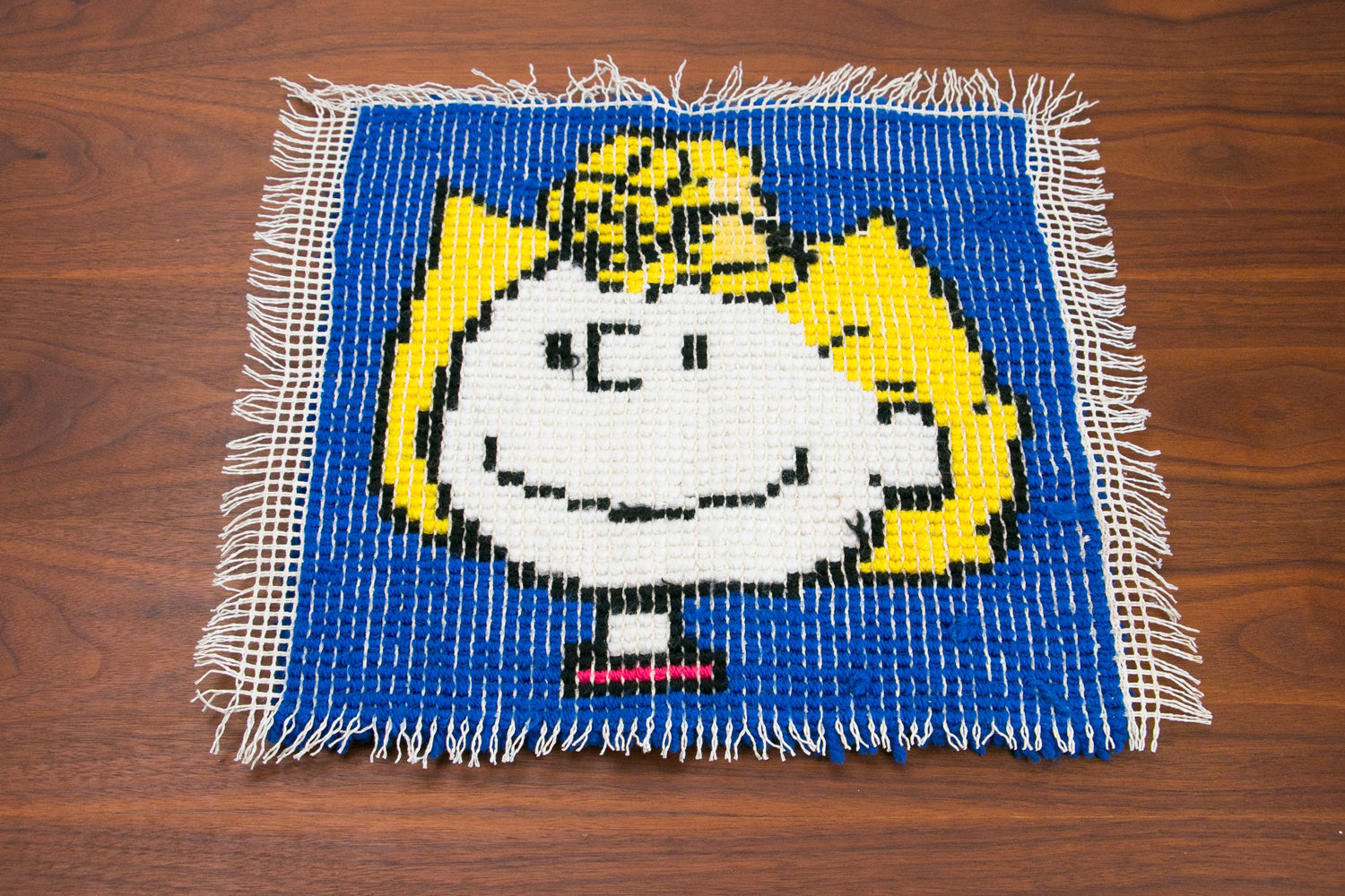 "Vintage Handmade Sally Brown Rug, 17"" x 17"" - Peanuts, Charlie Brown - Retro, Cartoons"
