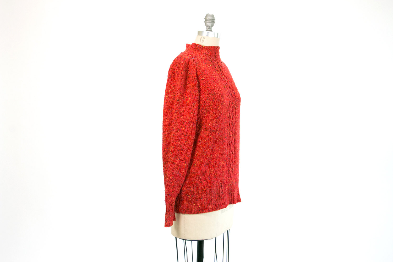 Vintage Red Liz Claiborne Silk Knit Sweater // 80's - 90's // Size Small // Retro, Hipster, Minimalist, Normcore