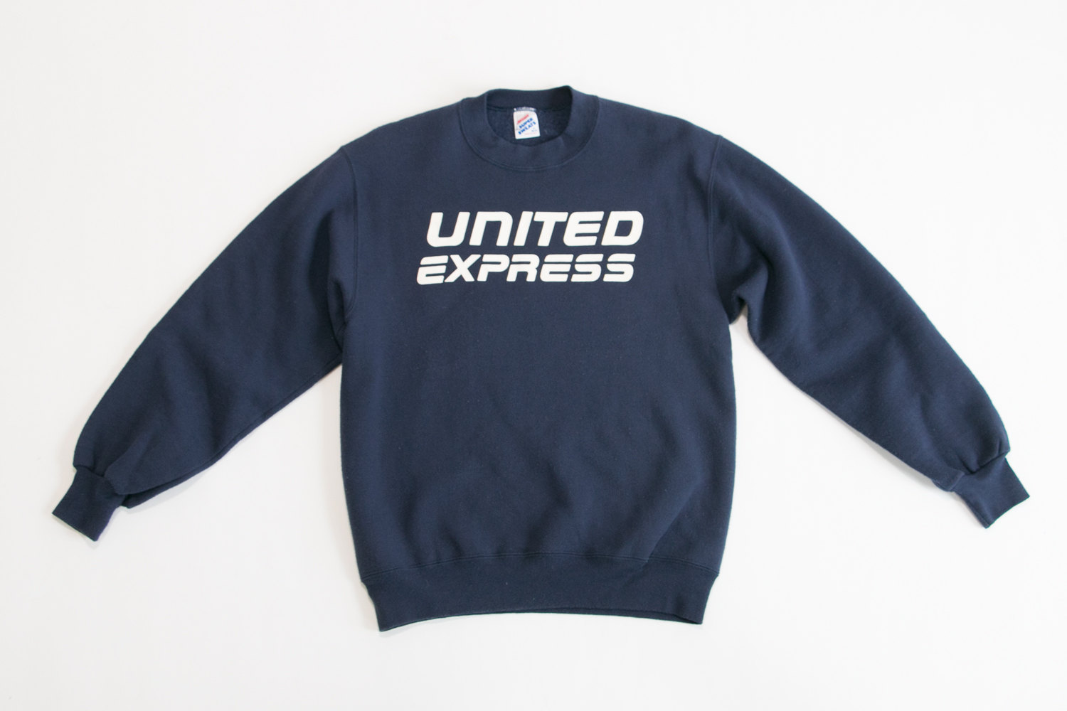 Vintage United Express Airline Crewneck Sweater // Size Medium, 38-40 // Navy Blue //  Retro, Hipster, Advertising