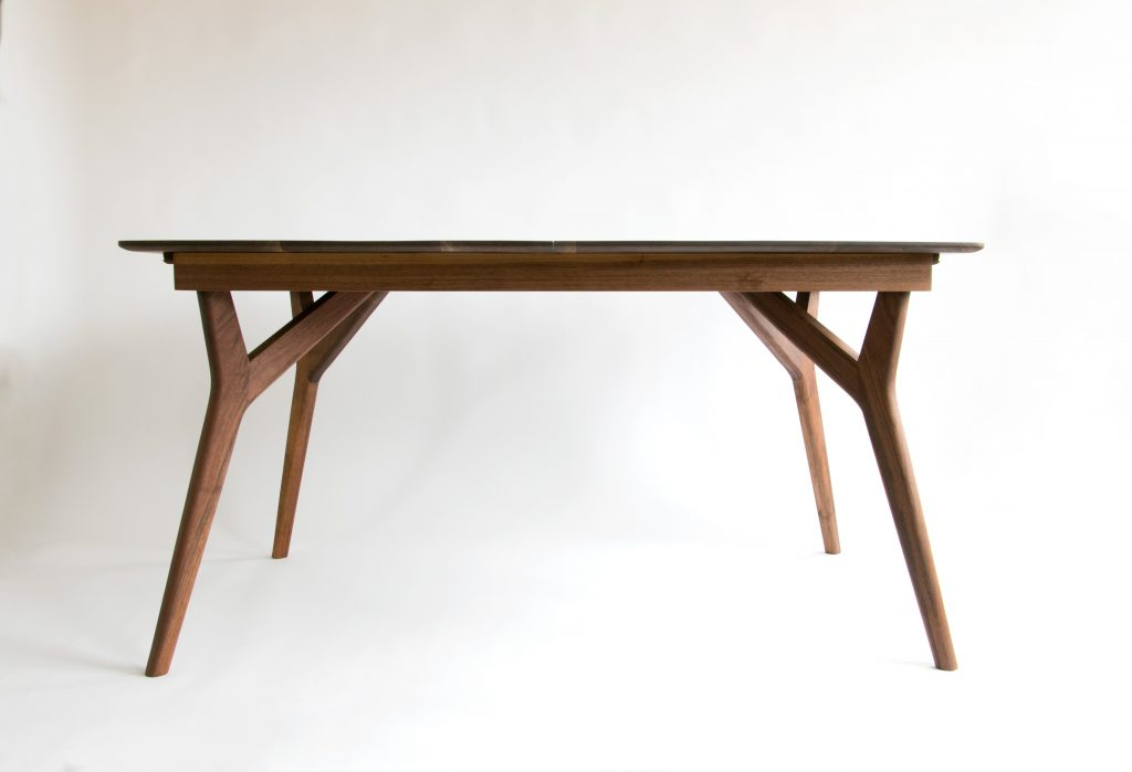 Handcrafted Modern Black Walnut Wishbone Dining Table
