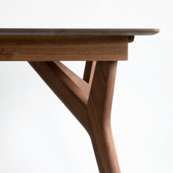 Sculpted Wishbone Legs on Handcrafted Modern Black Walnut Dining Table