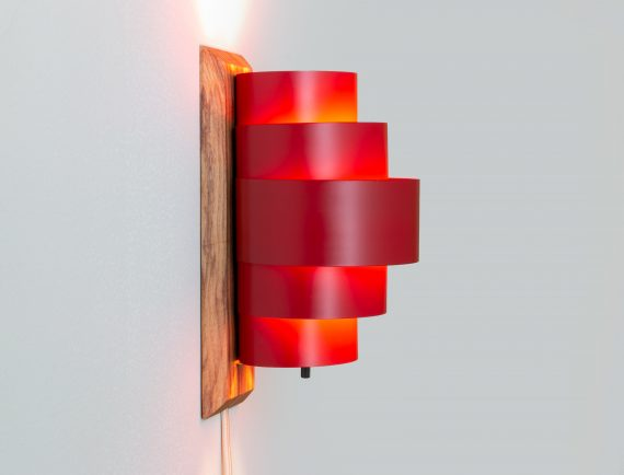 Red Sconce with Olive Ash Base