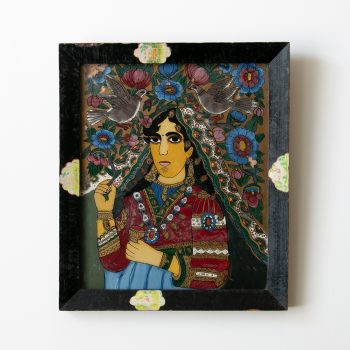 Reverse Painting on Glass of Indian Hindu Woman with Doves, Kamadeva, Love