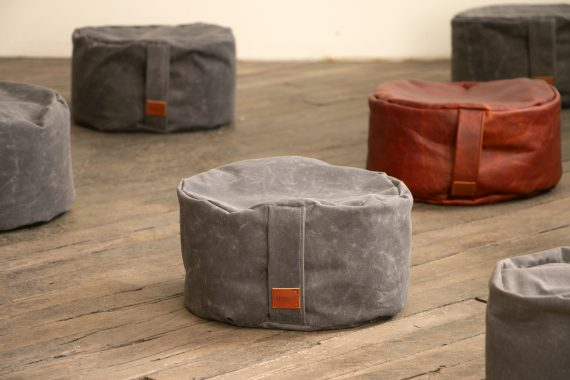 Waxed Canvas Meditation Cushion, Charcoal Gray