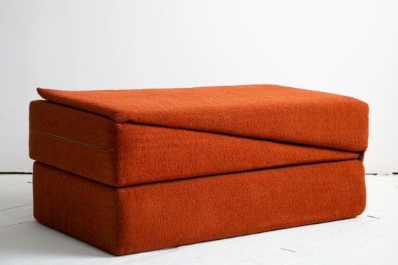 1970's Yoga Convertible Inversion Cushion, Gravity Awareness Centers, Palm Springs, Orange Shag-09