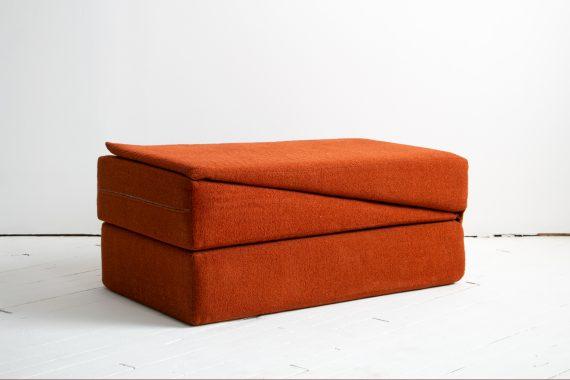 1970's Yoga Convertible Inversion Cushion, Gravity Awareness Centers, Palm Springs, Orange Shag-10