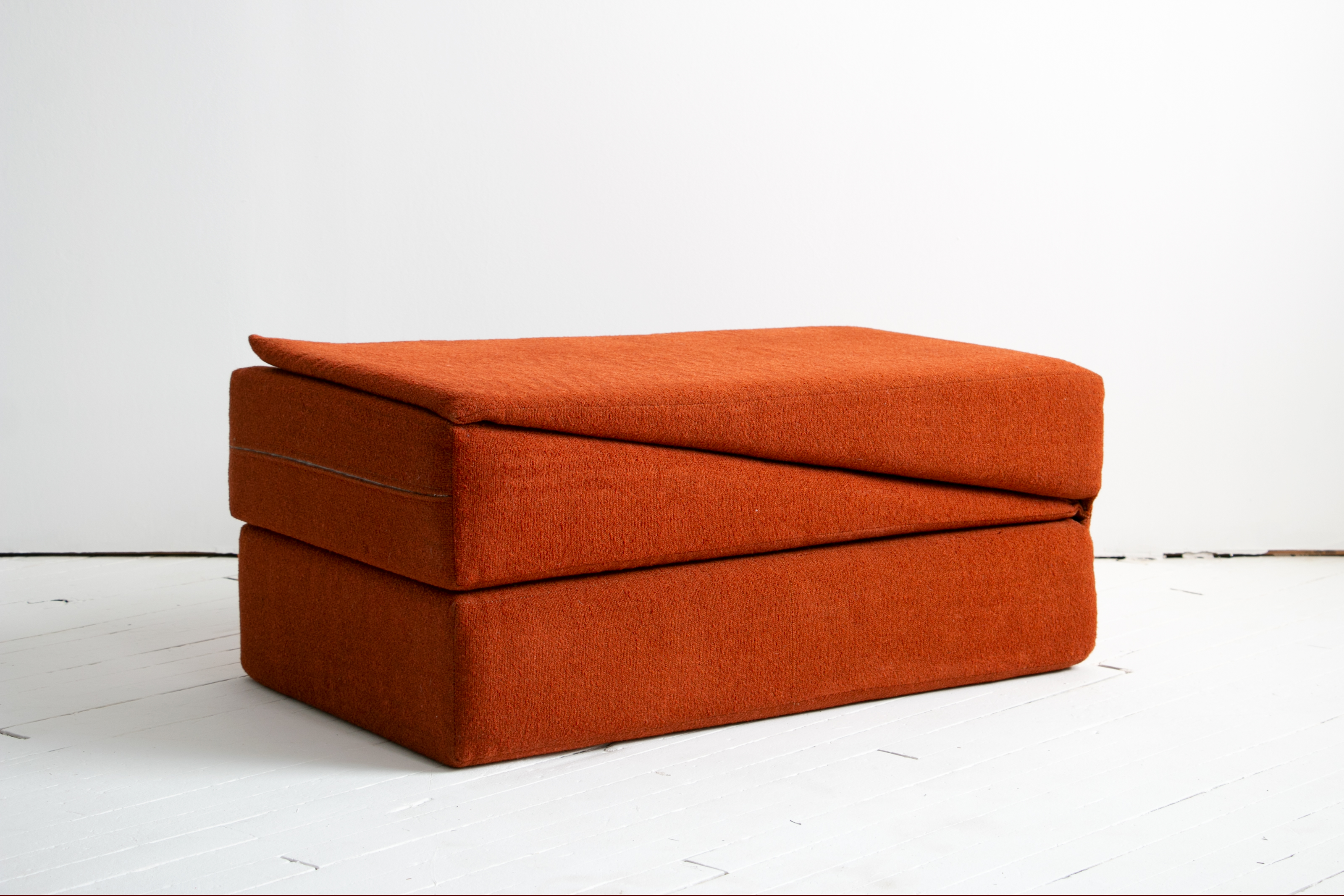 1970's Yoga Convertible Inversion Cushion, Gravity Awareness Centers, Palm Springs, Orange Shag