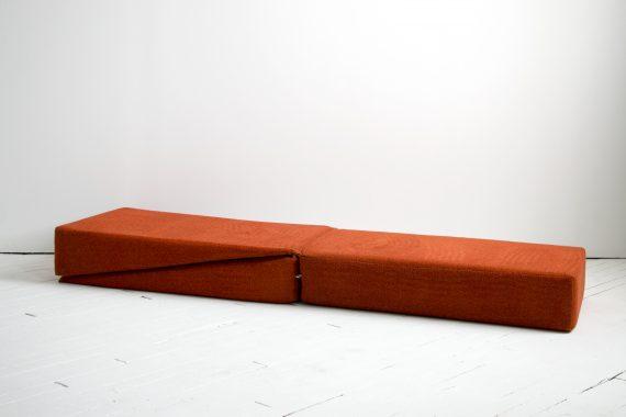 1970's Yoga Convertible Inversion Cushion, Gravity Awareness Centers, Palm Springs, Orange Shag