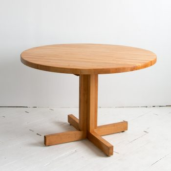 "Vintage Scandinavian 42"" Round Maple Butcher Block Table w Drop Leaf"