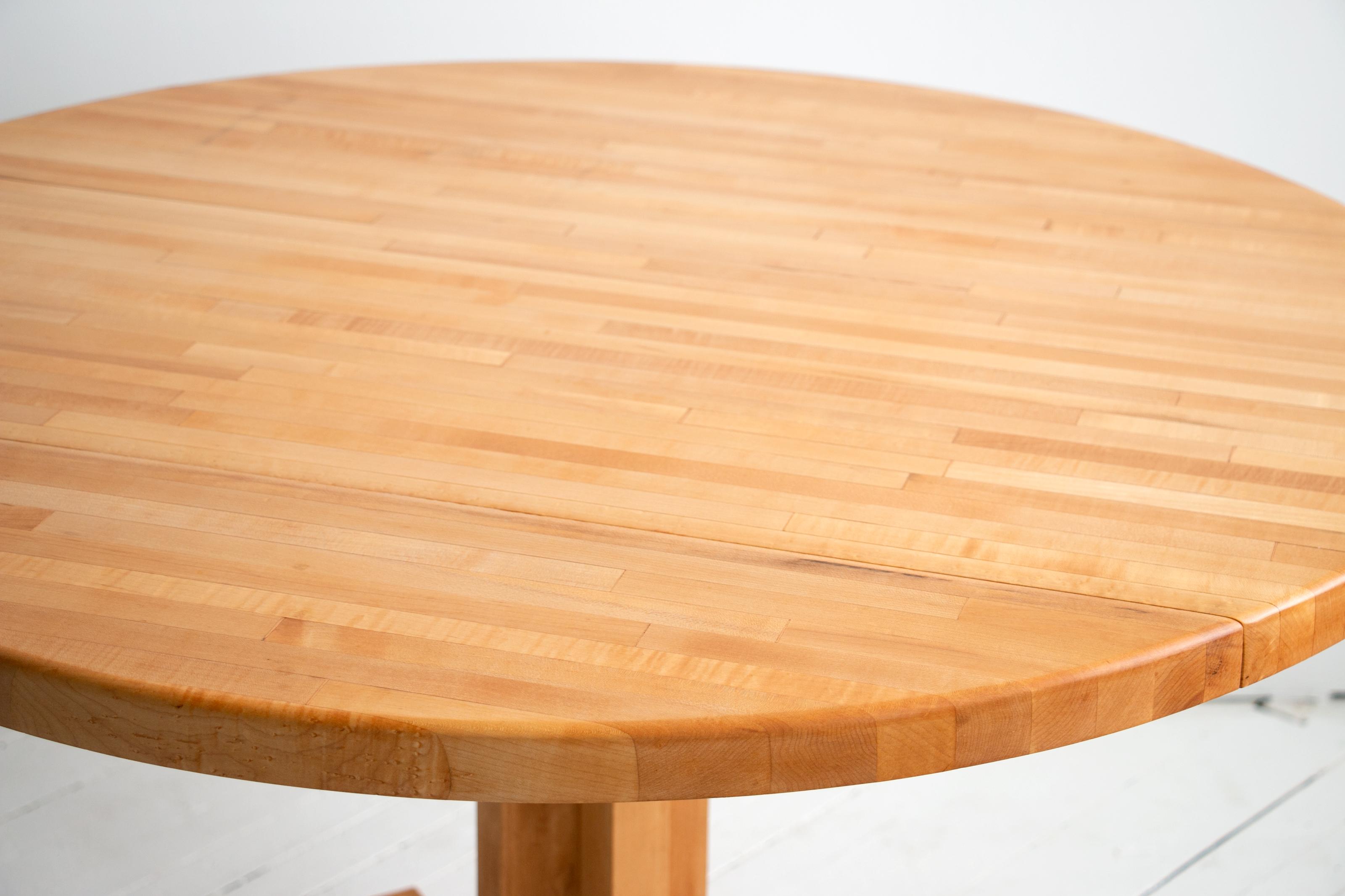 "Vintage Scandinavian 42"" Round Maple Butcher Block Table w Drop Leaf"