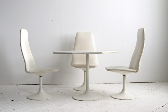 Mid Century Modern Tulip Chair & Octagonal Viggen Dining Table & Chair Set by Borje Johanson Designs