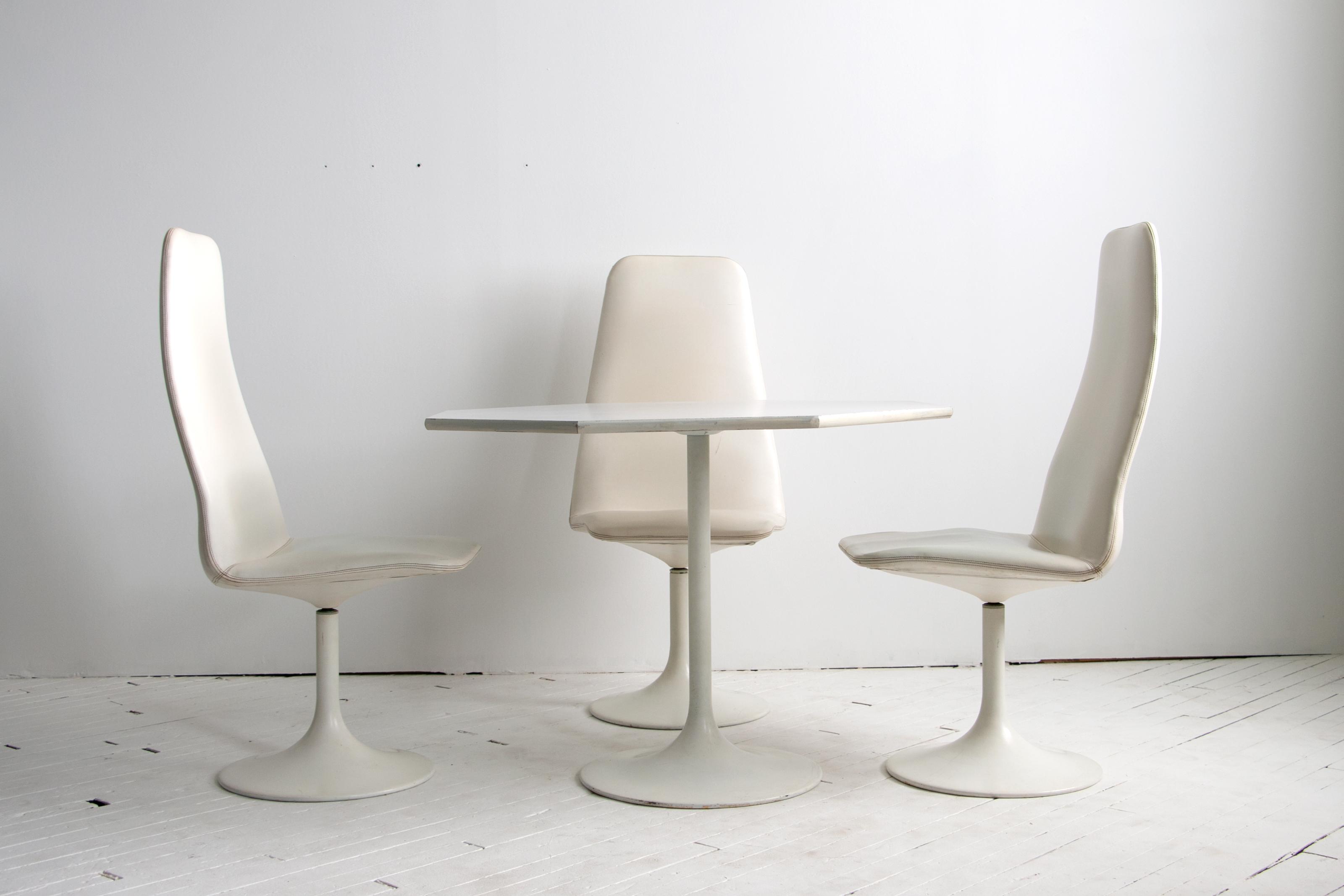 Mid Century Modern Tulip Chair & Octagonal Viggen Dining Table & Chair Set by Borje Johanson Designs