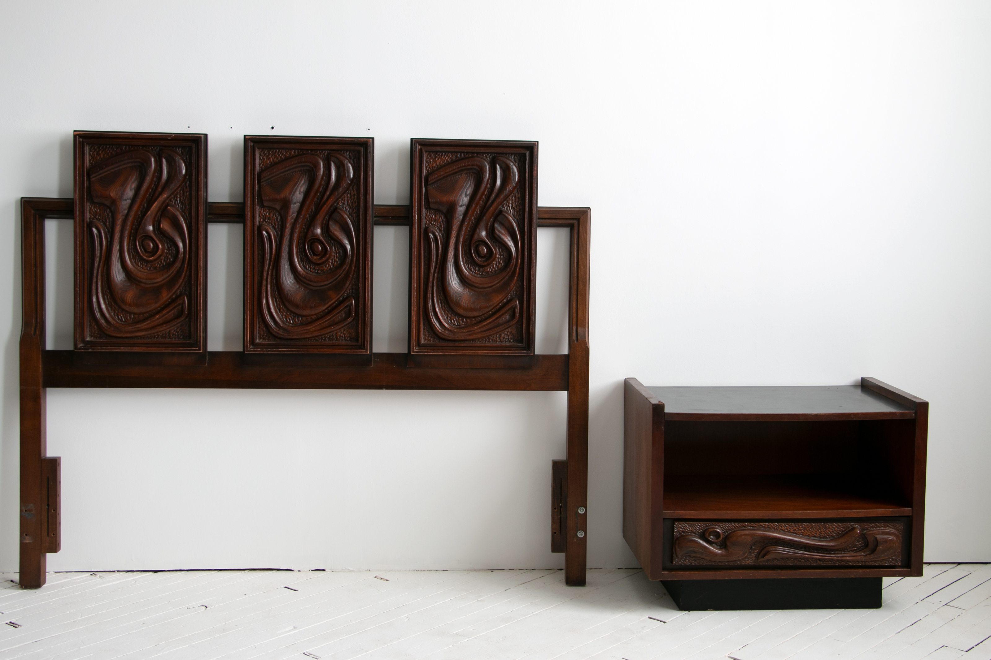 Queen Size Oceanic Tiki Headboard in the Style of Witco