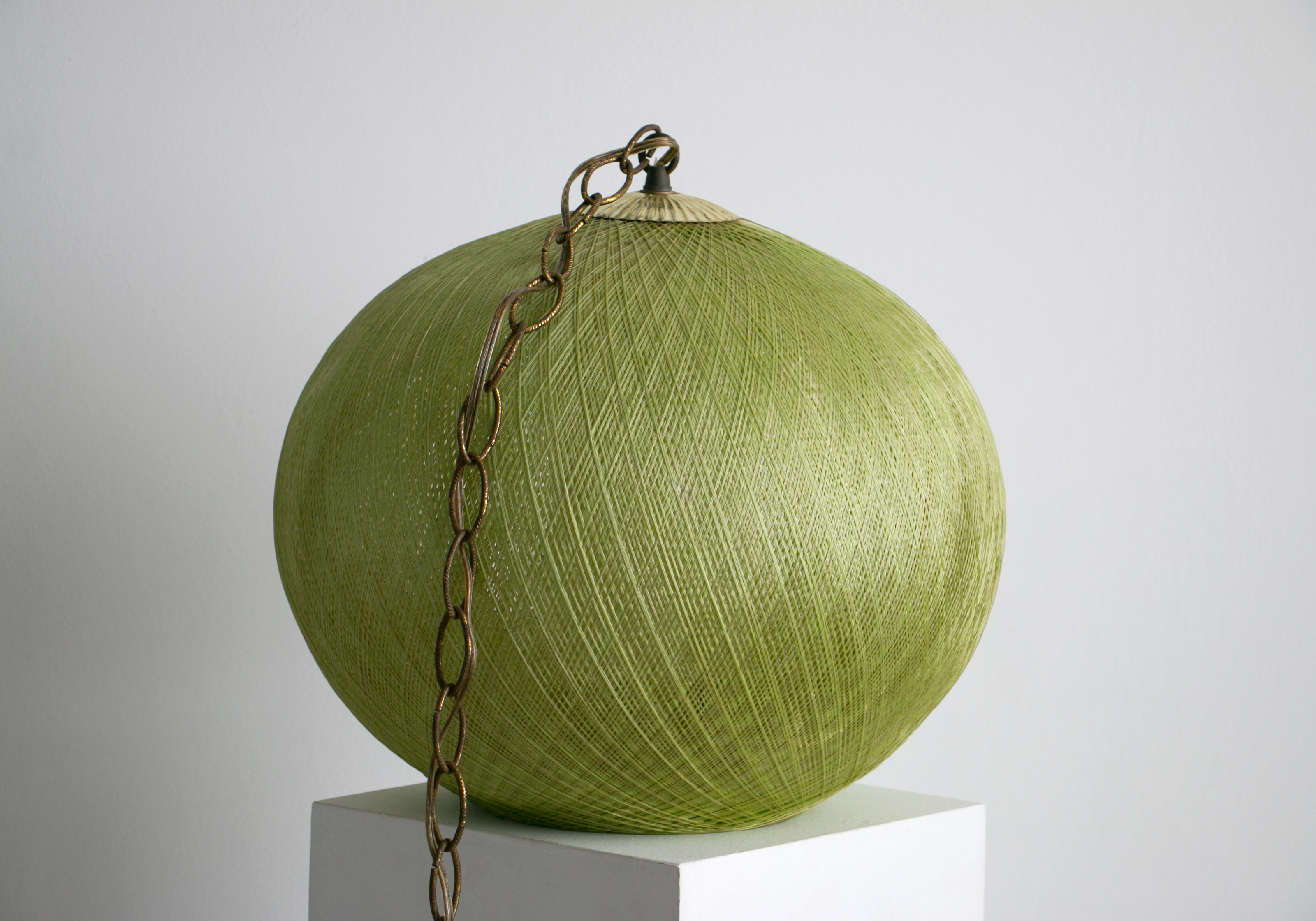 Mid Century Modern Green Fiberglass String Pendant Light Lamp