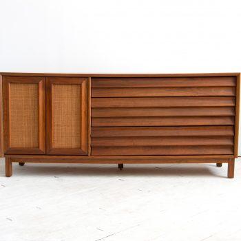 Vintage 1960's Mid Century Modern Walnut Credenza / Sideboard, Chartreuse Interior, America of Martinsville Dresser