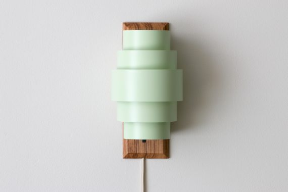 Handmade Wall Sconce, Olive Ash w/ Mint Green Shades,