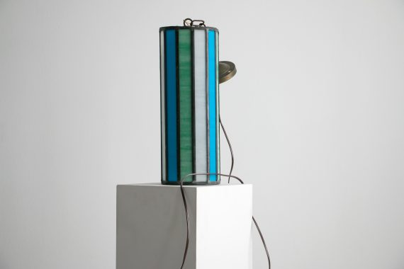 eautiful Mid Century Leaded Glass Pendant Light, 1950's – 1960's // 16″ tall, Stained Glass in Turquoise Green, Blue, and Milk Glass White-2