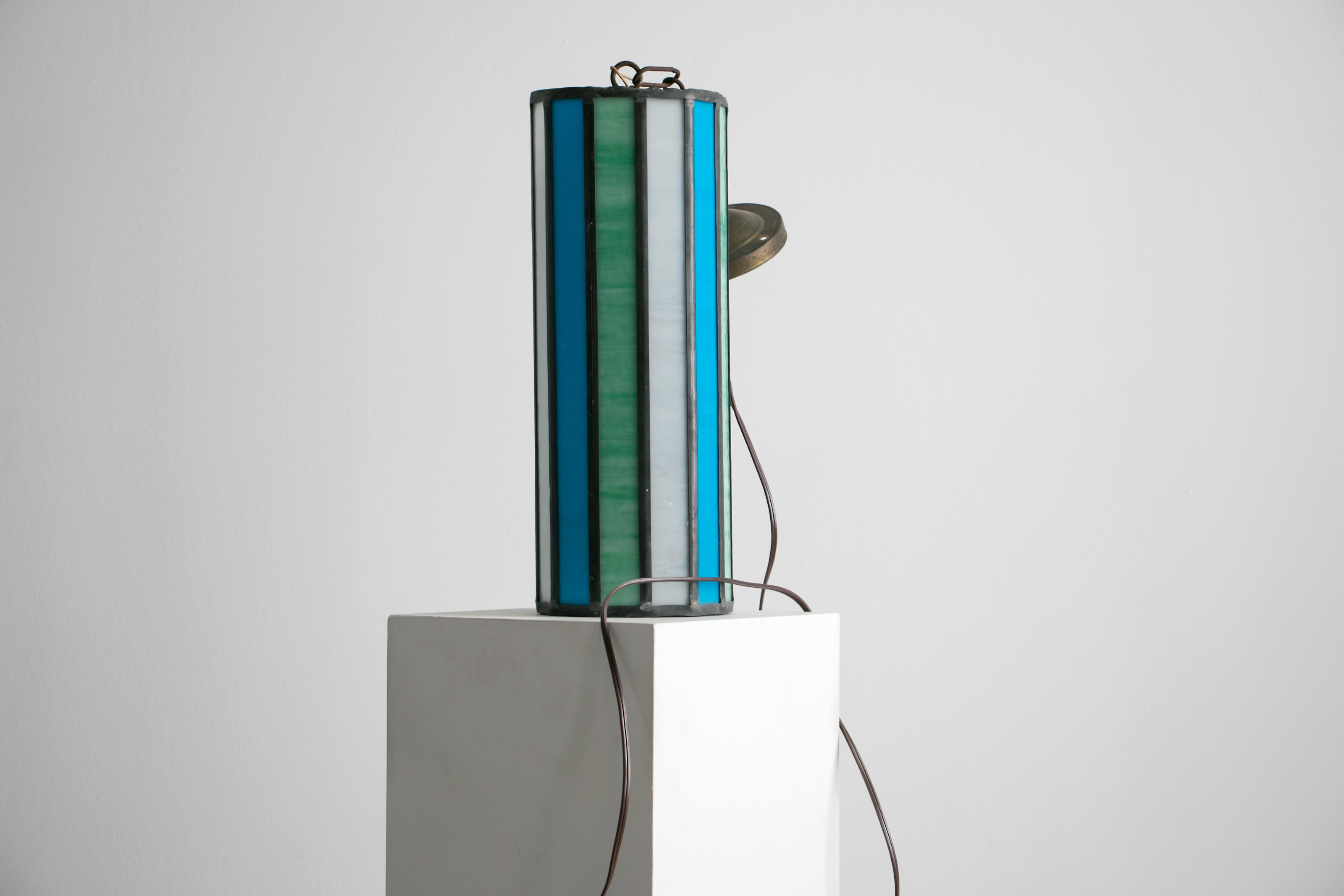 "eautiful Mid Century Leaded Glass Pendant Light, 1950's - 1960's // 16"" tall, Stained Glass in Turquoise Green, Blue, and Milk Glass White"