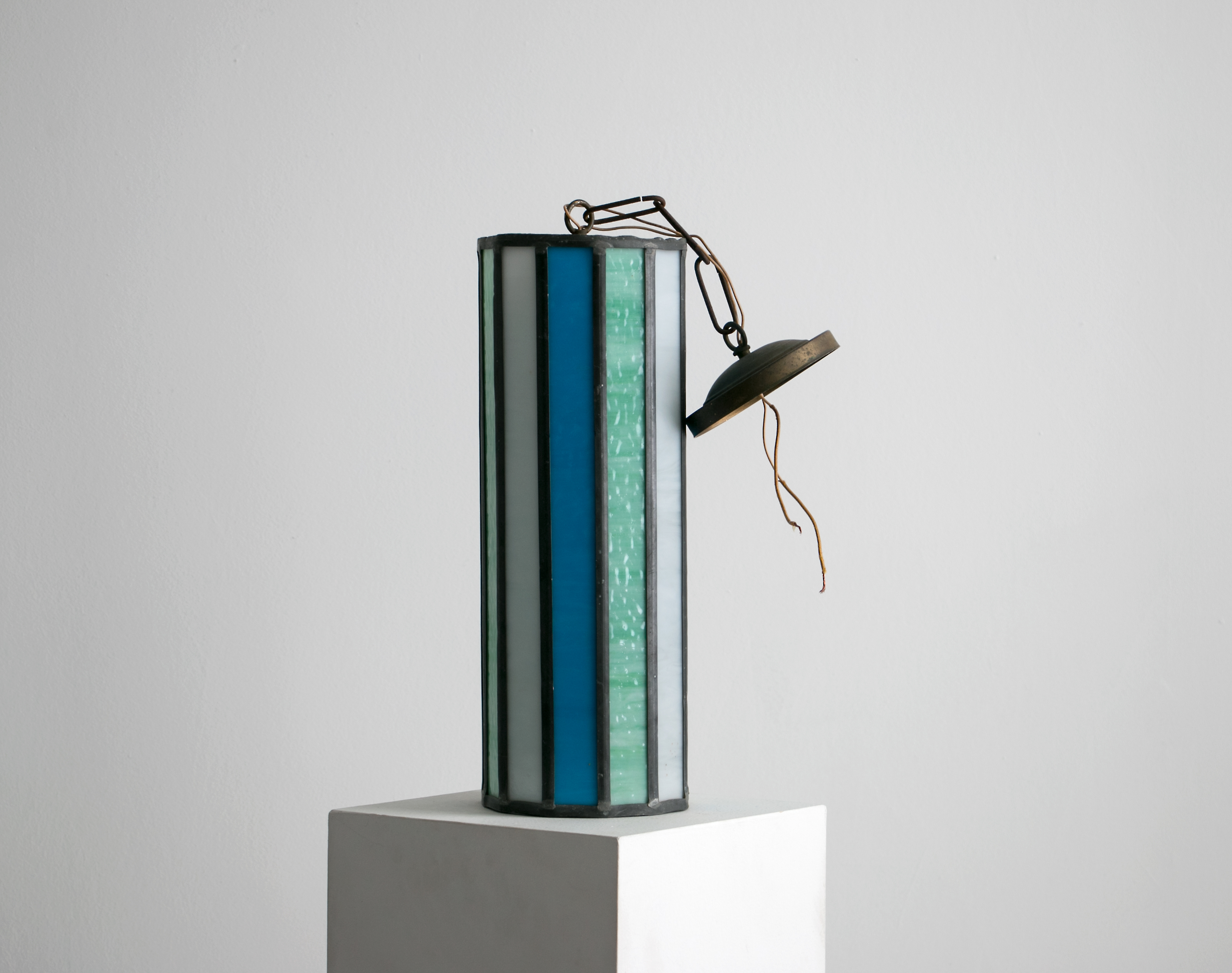 """eautiful Mid Century Leaded Glass Pendant Light, 1950's - 1960's // 16"""" tall, Stained Glass in Turquoise Green, Blue, and Milk Glass White"""