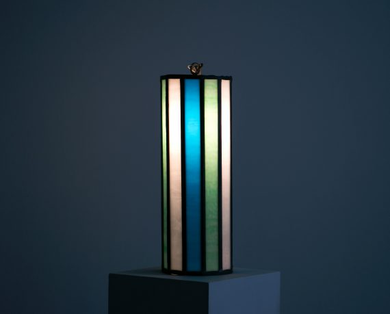 eautiful Mid Century Leaded Glass Pendant Light, 1950's – 1960's // 16″ tall, Stained Glass in Turquoise Green, Blue, and Milk Glass White