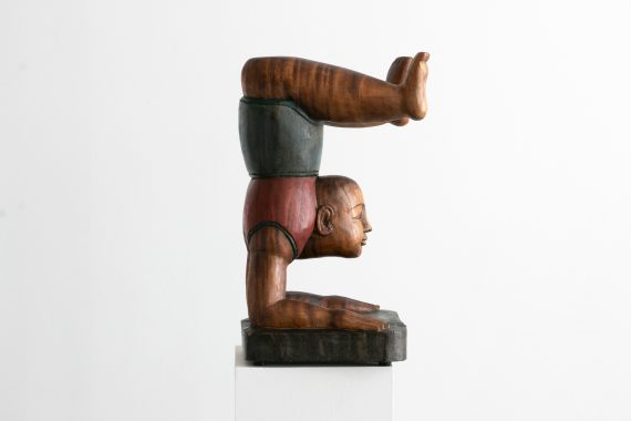 Large Vintage Asian Painted Wood Sculpture – Buddha Faced Boy in Yoga Pose, 19.5″ // Avant Garde, Bohemian