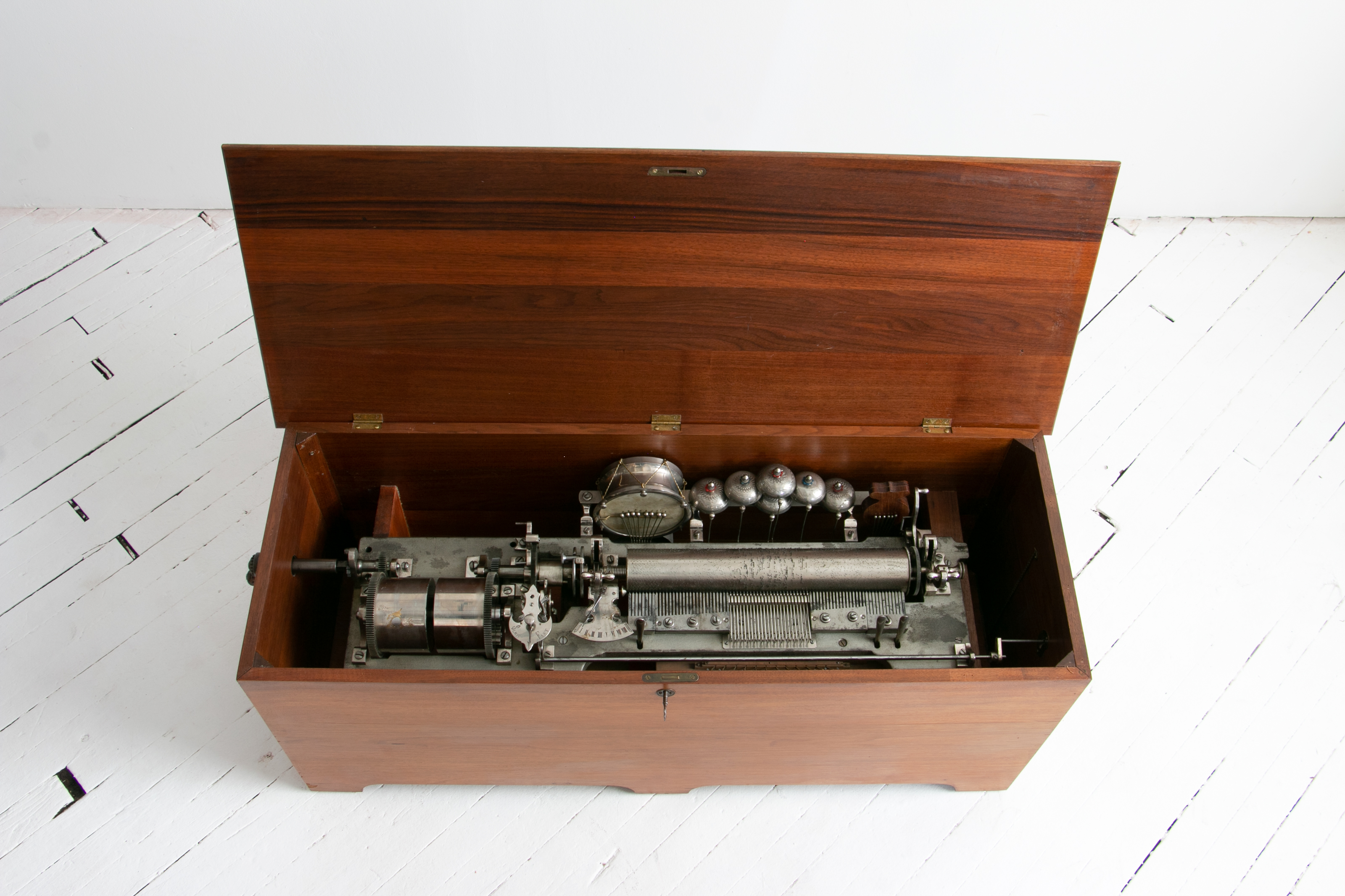 1800's D. Allard Orchestra Cylinder Music Box with Organ, Castanet, Bells, and Snare Drum